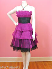 Betsey Johnson Pleated Organza Tiered Dress Raspberry Black Prom Party 4 6 $450