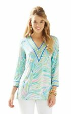 NEW Lilly Pulitzer PORT Tunic Sky Blue Salute JERSEY Top Tunic Blouse XS RARE!
