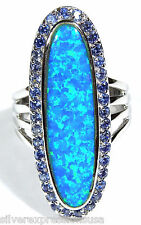 Beautiful Tanzanite & Blue Fire Opal Inlay 925 Sterling Silver Oval Ring size 6