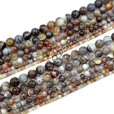 Grade AAA Natural Smooth  Faceted Botswana Agate Gemstone Round Beads 15.5""