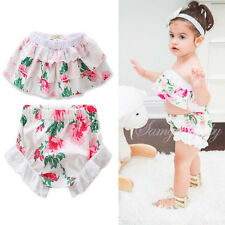 Floral Baby Girls Off Shoulder Ruffle Tops Romper Shorts Summer Outfits 2Pcs Set