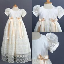 Unisex Baptism Outfit Dress White Ivory Christening Gown Custom +Bonnet Lace New