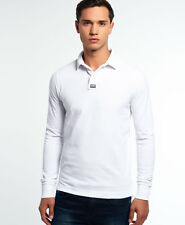 New Mens Superdry Classic Long Sleeve Pique Polo Shirt Optic
