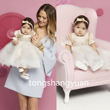 New Girls Baptism Outfit Dress White Ivory Christening Ball Gowns Crystal 0-24 M