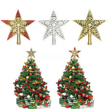 Plastic Shiny Star Topper Top Ornament Xmas Christmas Tree Decoration Reusable