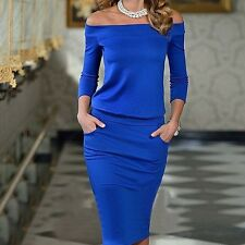 Trendy Summer Dress Off Shoulder Womens Sexy Fashion Casual Party Night Blue ...