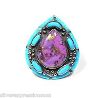 Purple Turquoise & Sleeping Beauty Turquoise Inlay 925 Sterling Silver Ring sz 8