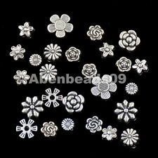 Tibetan Silver Carved Flower  Coin Connector Space Charm Beads Craft