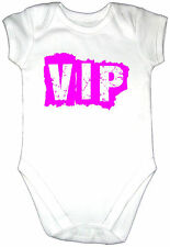 Funny VIP Baby Grow Clothes Vest Gro Bodysuit PINK Text Fun Cool Kids