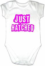Funny JUST HATCHED Baby Grow Clothes PINK Text Vest Gro Girl Bodysuit Cool Fun
