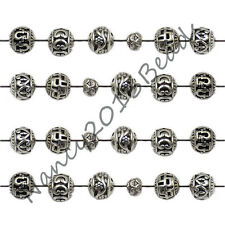 Tibetan Silver Carved Hollow Round Metal Pendant Necklaces Charm Findings Beads
