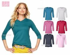 LAT - Ladies' V-Neck T-Shirt with Three-Quarter Sleeves Top - 3577  S-2XL