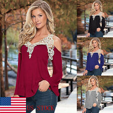 US Women Sexy Lace Off Shoulder Floral Long Sleeve Party Ladies Blouse Top Tee