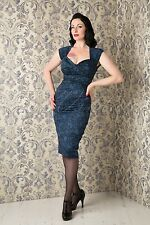 Stop Staring Love Dress in Blue Lace Print, NWT, Plus Size1950's cocktail dress!