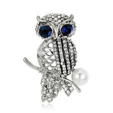 VINTAGE WOMEN JEWELRY RHINESTONE HOLLOW IMITATION PEARL OWL BROOCH PIN AMPLE