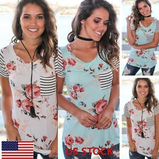 Women Ladies Casual Loose Striped Floral Tops Blouse T-shirt Beach Holiday Party