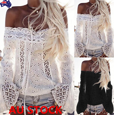 Women Off Shoulder Lace Tops Long Sleeve Flared Shirt See-through Lace-Up Blouse