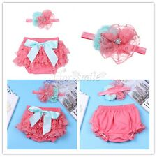 Newborn Baby Girls Lace Infant Photography Photo Prop Bloomer Diaper+Headband