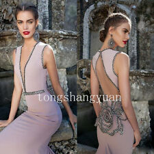 2017 Mermaid Evening Party Celebrity Dress Deep V-Neck Formal Pageant Prom Gowns