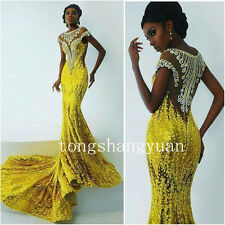 Gold Mermaid Evening Dress Crystal Luxury Sequin African Formal Prom Party Gowns