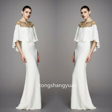 2017 Elegant White Evening Dresses Chiffon Formal Party Bridesmaid Gowns + Cape