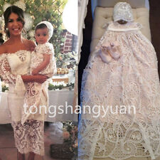 New Baby Baptism Outfits Lace Infant Christening Gowns Custom Bonnet 0-24 Months