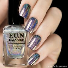 F.U.N Lacquer - Permanent Shades Holographic Nail Polish 12ml Purple Gold Blue
