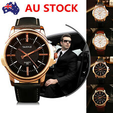 Fashion Men Luxury Business Wrist Watch Quartz Golden Leather Pin Buckle Watch