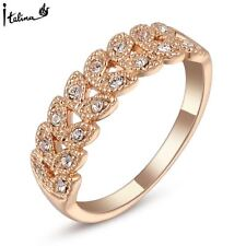 Brand TracysWing Rings for women Genuine Austrian Crystal 18KRGP Rose Gold Color