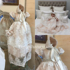 Baby Girls Baptism outfits Pink Tulle Sequins Dress Gown Christening Bonnet 2017