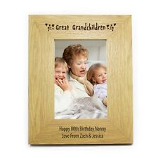 PERSONALISED GREAT GRANDCHILDEN WOODEN PHOTO FRAME 3 SIZES 6x4 5x7 10x8 BIRTHDAY