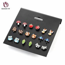 Danze 9 Pairs/lot Cute Fashion Resin Small Animal Fox Butterfly Stud Earrings Se