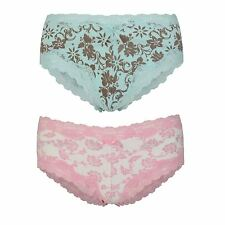 Ladies Boy Shorts Style Briefs French Knickers Lace Trimmed Floral Sizes 10-12