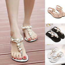 Womens Diamante Glitter Casual Summer Outdoor Flat Flip Flops Sandals Shoes Size