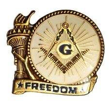 Masonic Liberty Freedom American One Inch Antique Gold Plated Lapel Pin