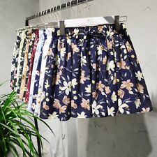 Womens Chiffon Pleated Shorts Floral Culottes High Waisted Short Pants Trousers