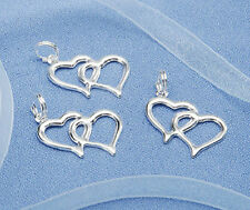 60/80/100/120 Linked Double Silver Heart Charms Wedding/Bridal Shower Favors
