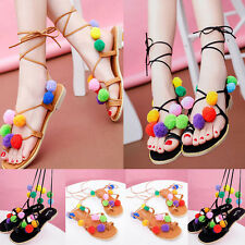 Womens New Furry Lace Up Summer Flat Sandals Flip Flops Gladiators Shoes Size