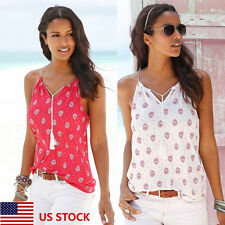 US Women Ladies V Neck Floral Casual  Sling Vest T-Shirts Tops Plus Size Beach