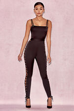 """HOUSE OF CB 'Tsarina' Black Satin Jumpsuit with Side Lace Ups """"Faulty"""" MM 765"""