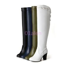 Womens Leather High Thick Heel Oxford Over Knee Boot Zip Winter Shoes Plus Size