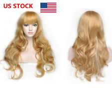 US Women's Girls Middle Long Curly Wig Blonde Cosplay Party Carnival Hair Wigs