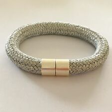Metallic Climbing Rope Bracelet with Plated Brass Magnetic Clasp