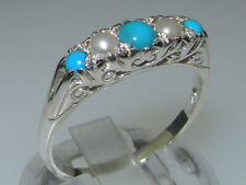 9ct White Gold Natural Turquoise & Pearl Womens Band Ring - Sizes J to Z