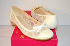 New $298 kate spade New York Banner Ivory/Lace Cream Nappa Leather Ballet Flats