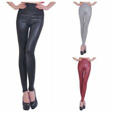 Women's Fashion Black Red Imitation Leather Leggings Party Slim Casual Wear