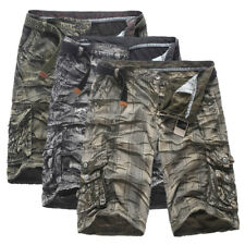 Mens Cool Camo Combat Shorts Loose Cargo Pants Military Army Cropped Trousers