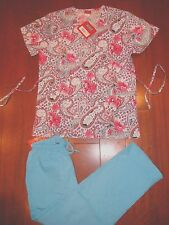 760A244 New Red Lavender Floral Print Top Turquoise Cargo Pant Nurses Scrub Set