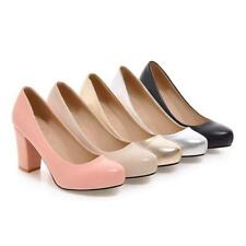 Womens Party Shoes PU Leather High Block Heel Lady  Slip On Pumps Office AU Size