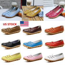 US Women Leather Soft Hollow Out Casual Slip On Boat Shoes Flats Oxfords Loafers